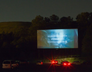 Starlight Drive-In screen at dusk